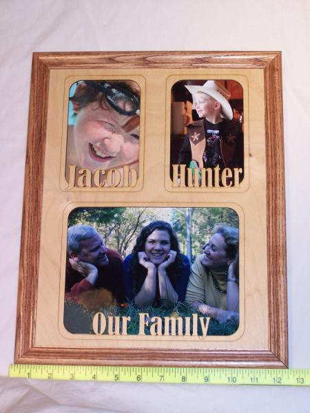 11 x 14 name frame mat two vertical and one horizontal opening